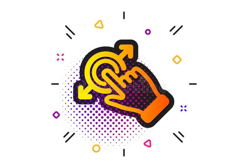 Icona di gesto dello schermo attivabile al tatto Segno della freccia di goccia e di resistenza Azione del colpo Vettore illustrazione vettoriale