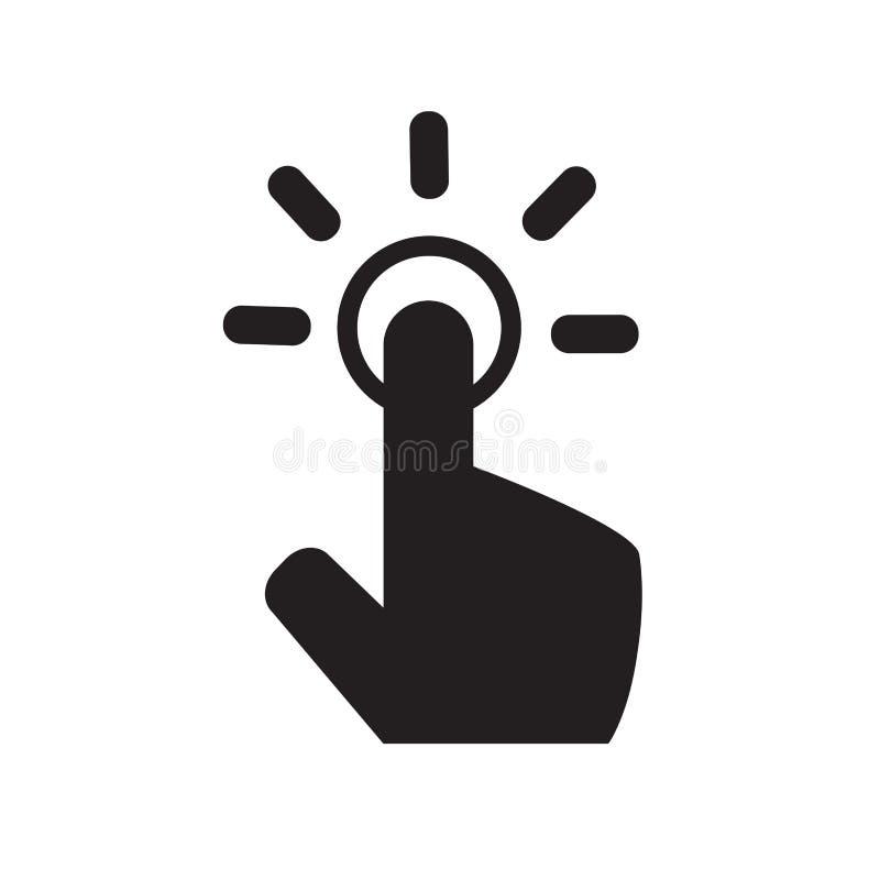 Icona di gesto di tocco Icona della mano icona del cursore del touch screen Uno scatto illustrazione vettoriale