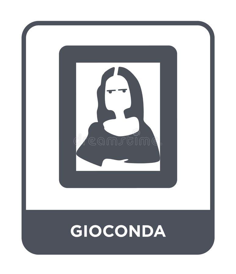 icona di gioconda nello stile d'avanguardia di progettazione icona di gioconda isolata su fondo bianco piano semplice e moderno d illustrazione di stock