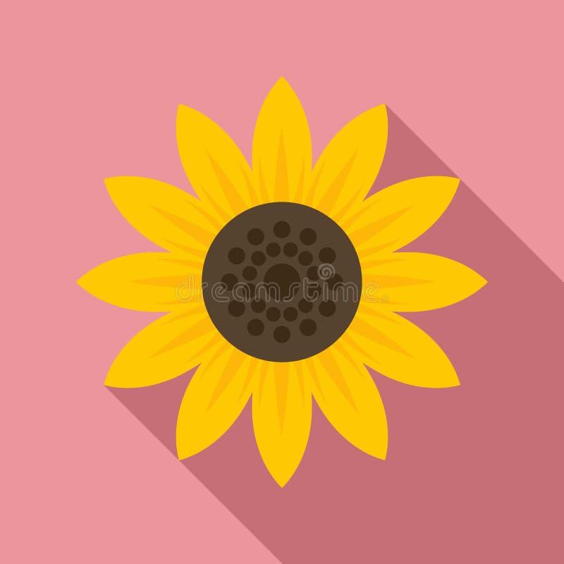 Icona di girasole, stile piatto illustrazione vettoriale