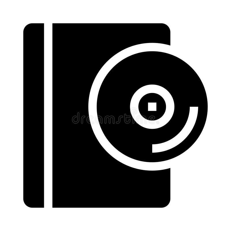 Icona di glifi del libro del disco illustrazione vettoriale