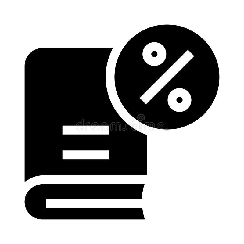 Icona di glifi di percentuale del libro illustrazione di stock