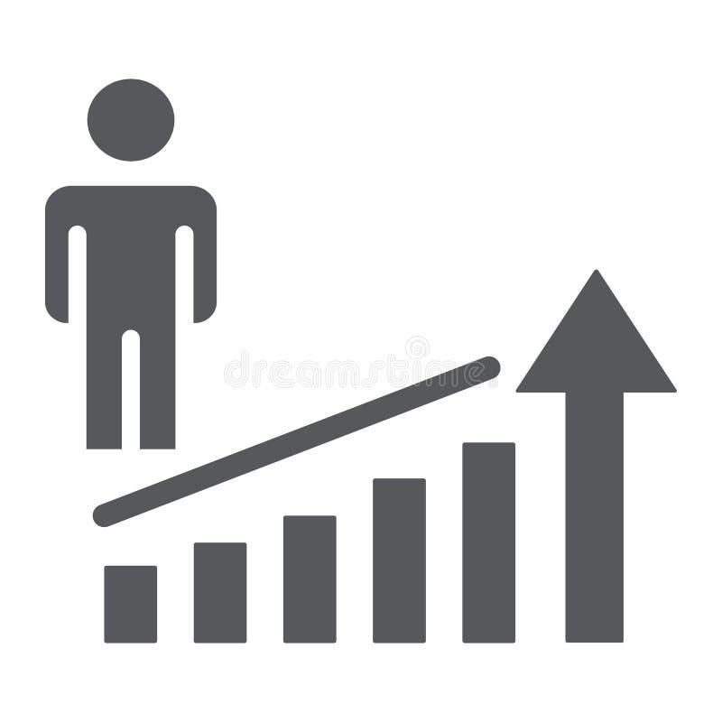Icona di glifo di aumento di carriera, lavoro e progresso, segno di successo della persona, grafica vettoriale, un modello solido illustrazione di stock