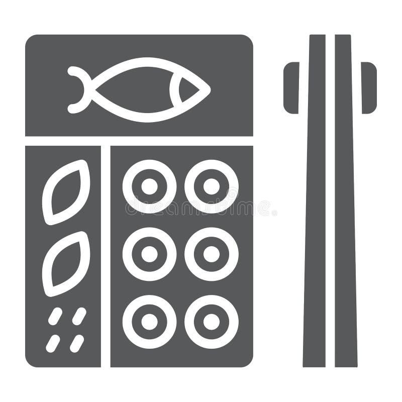 Icona di glifo di bento, asiatico ed alimento, segno giapponese della scatola di pranzo, grafica vettoriale, un modello solido su royalty illustrazione gratis