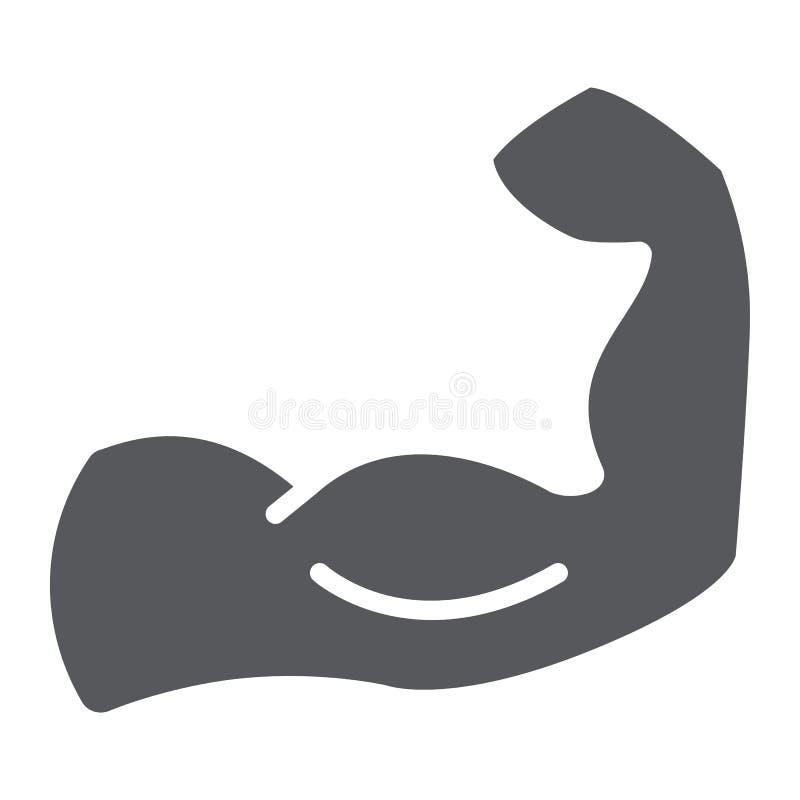 Icona di glifo dei muscoli, potere e culturismo, segno muscolare del braccio, grafica vettoriale, un modello solido su un fondo b illustrazione di stock
