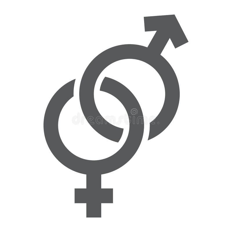 Icona di glifo dei segni di genere, amore e sesso, segno eterosessuale, grafica vettoriale, un modello solido su un fondo bianco illustrazione vettoriale