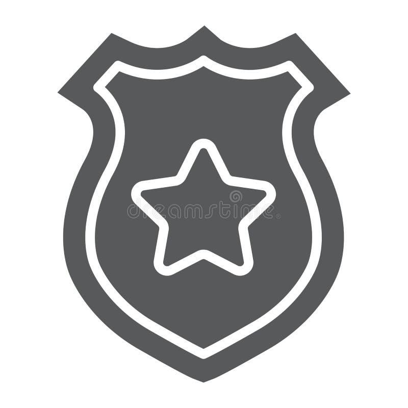 Icona di glifo del distintivo della polizia, polizia e sceriffo, segno del distintivo dell'ufficiale, grafica vettoriale, un mode royalty illustrazione gratis