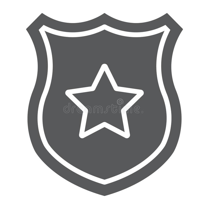 Icona di glifo del distintivo della polizia, ufficiale e legge, schermo con il segno della stella, grafica vettoriale, un modello illustrazione vettoriale