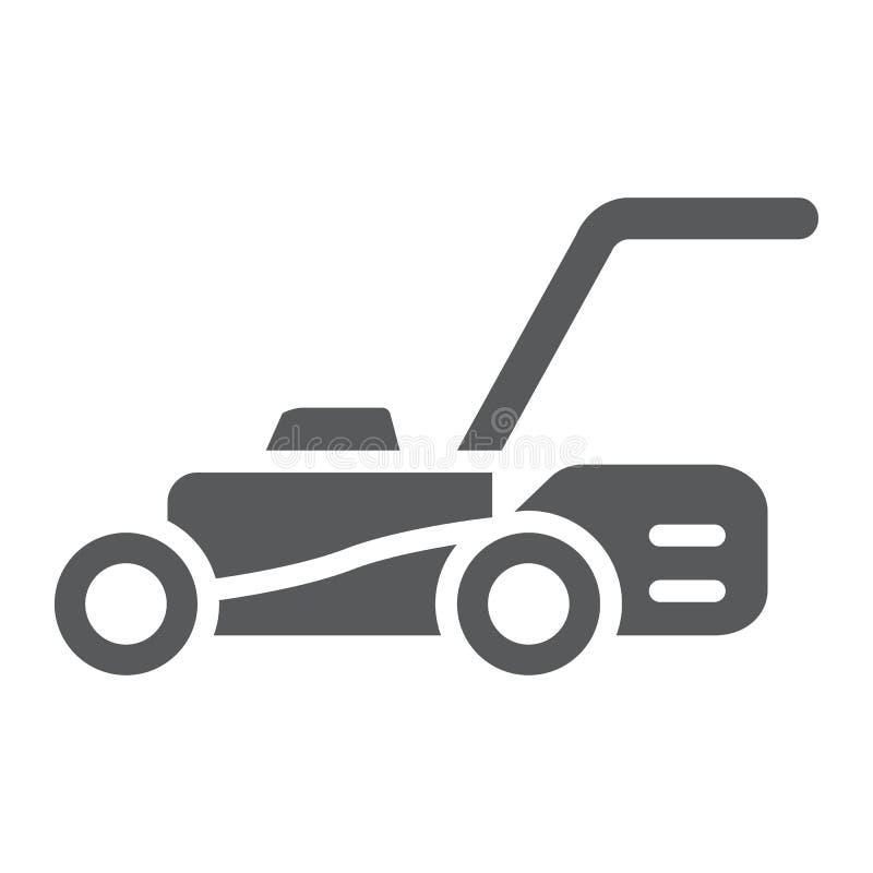 Icona di glifo del motore del prato inglese, attrezzatura e giardino, segno della taglierina, grafica vettoriale, un modello soli illustrazione di stock