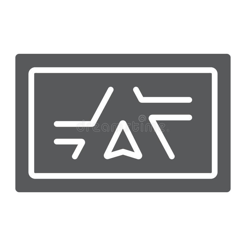Icona di glifo del navigatore dei Gps, elettronico e dispositivo illustrazione di stock