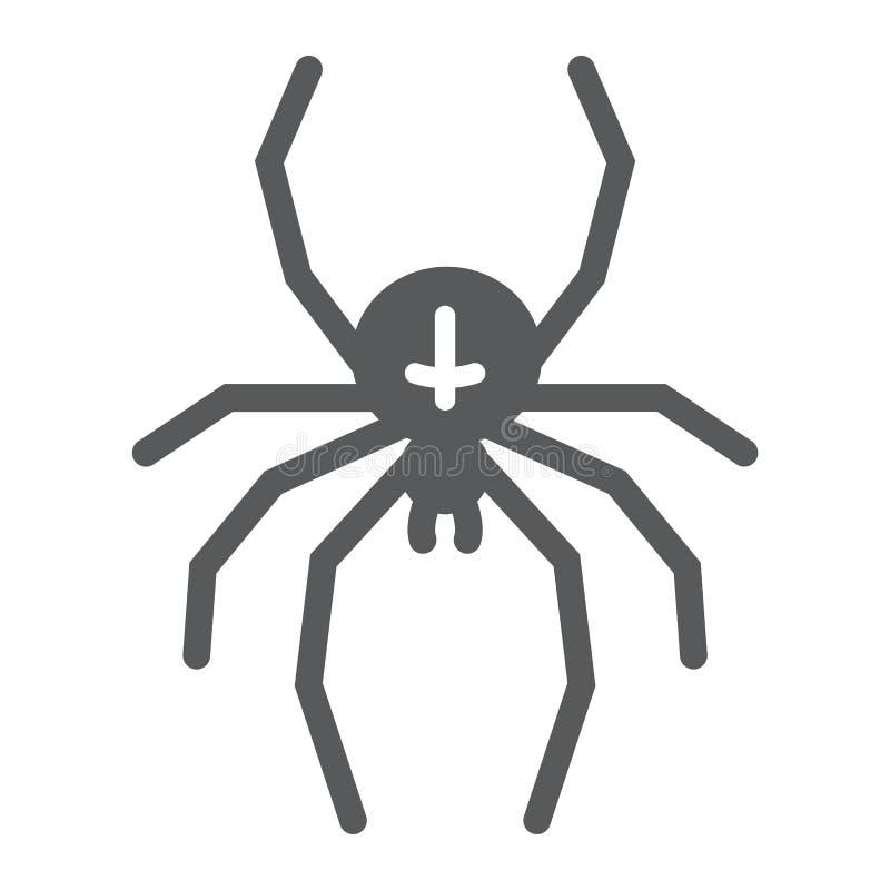 Icona di glifo del ragno, animale ed aracnide, segno di Halloween, grafica vettoriale, un modello solido su un fondo bianco illustrazione di stock