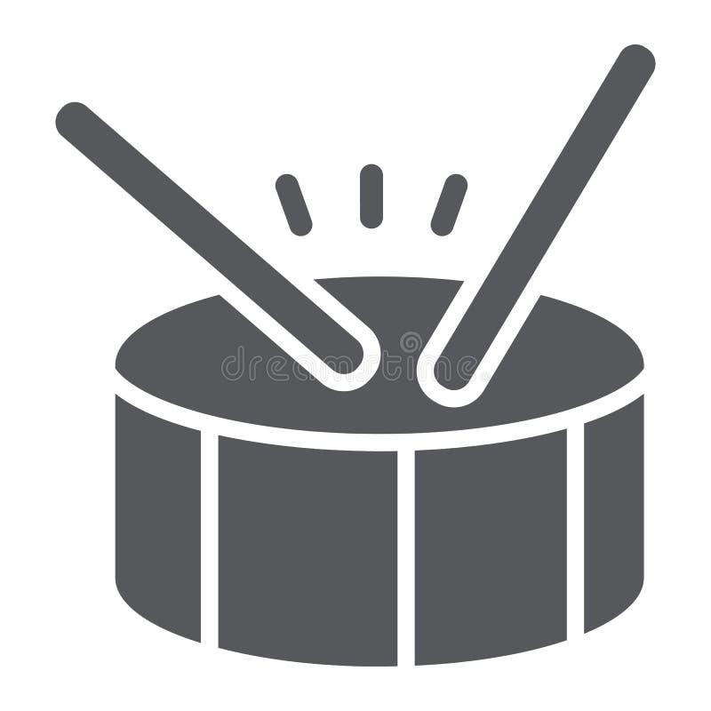 Icona di glifo del tamburo, musica e battito, segno dello strumento di percussione, grafica vettoriale, un modello solido su un f illustrazione vettoriale