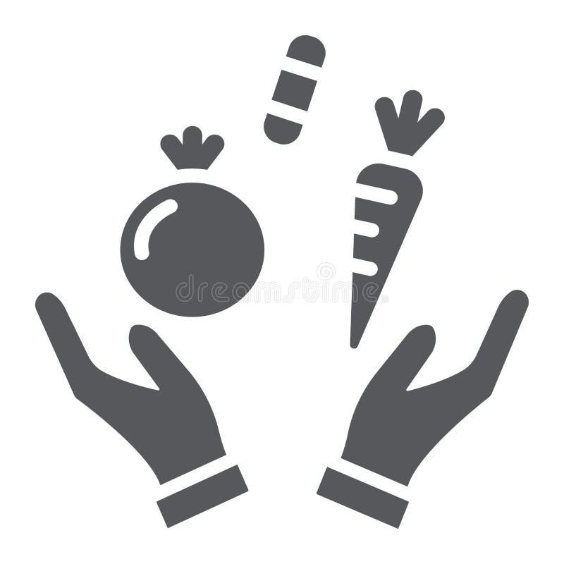 Icona di glifo dell'alimento, salute e pasto sani, segno di dieta, grafica vettoriale, un modello solido su un fondo bianco royalty illustrazione gratis