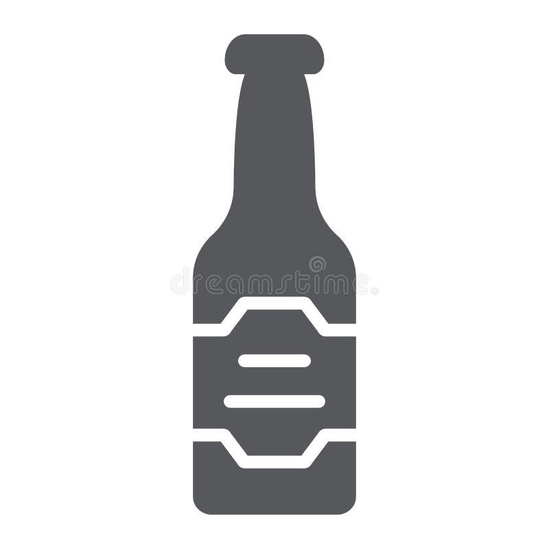 Icona di glifo della bottiglia di birra, bevanda ed alcool, segno della lager, grafica vettoriale, un modello solido su un fondo  illustrazione vettoriale