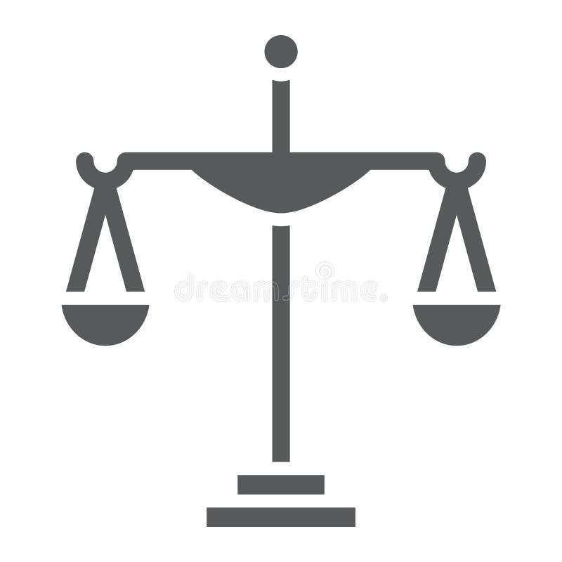 Icona di glifo della giustizia, corte e legge, segno della scala, grafica vettoriale, un modello solido su un fondo bianco royalty illustrazione gratis