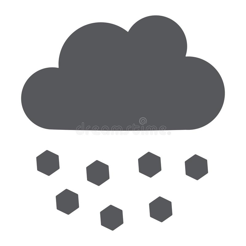Icona di glifo della grandine, tempo e meteorologia, segno della nuvola, grafica vettoriale, un modello solido su un fondo bianco illustrazione di stock