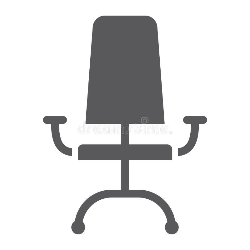 Icona di glifo della sedia dell'ufficio, mobilia ed ufficio, segno della poltrona, grafica vettoriale, un modello solido su un fo royalty illustrazione gratis