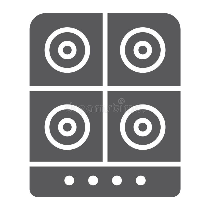 Icona di glifo della stufa, cucina e fornello, segno elettrico della piastra riscaldante, grafica vettoriale, un modello solido s illustrazione di stock