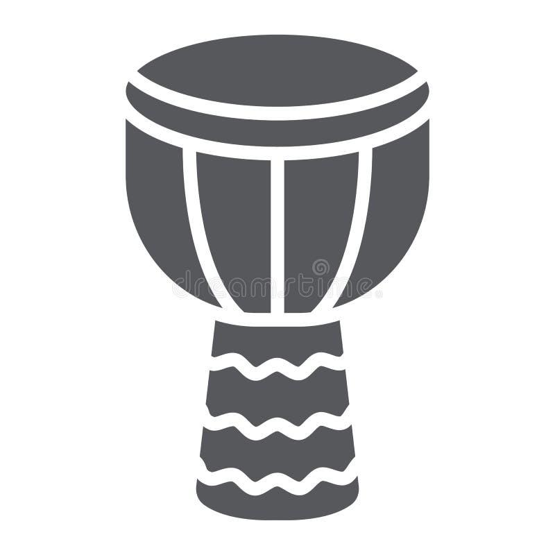 Icona di glifo di Djembe, musica e strumento, segno del tamburo, grafica vettoriale, un modello solido su un fondo bianco royalty illustrazione gratis