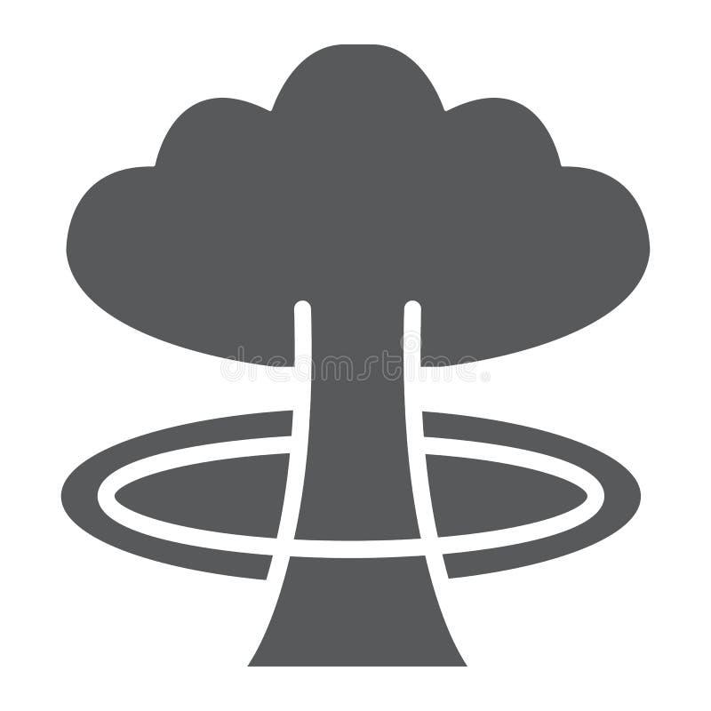 Icona di glifo di esplosione, il pericolo e guerra, segno di esplosione nucleare, grafica vettoriale, un modello solido su un fon illustrazione di stock