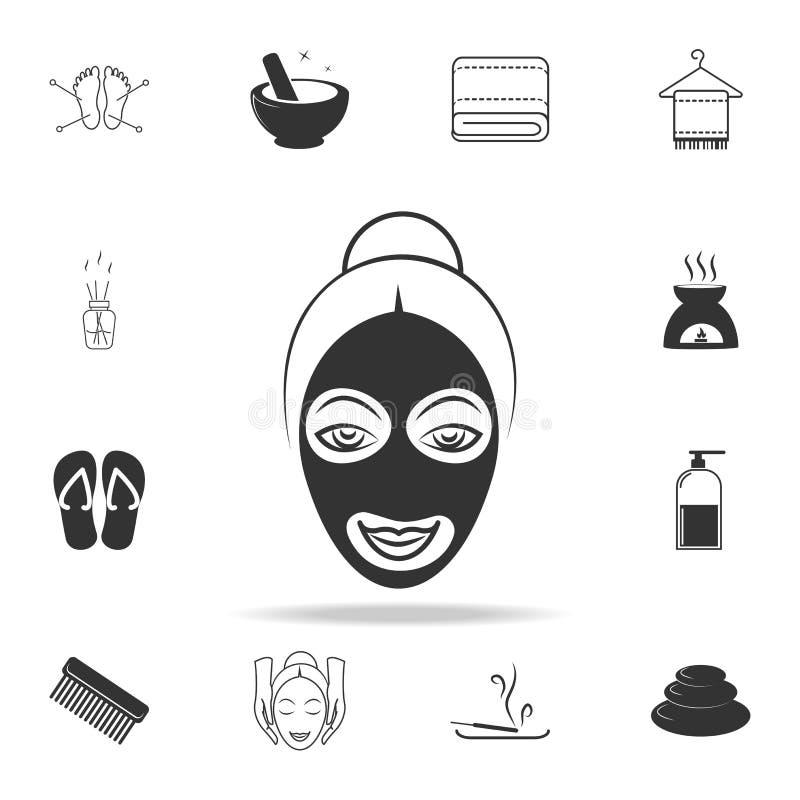 Icona di glifo di procedura della stazione termale Insieme dettagliato delle icone della STAZIONE TERMALE Progettazione grafica d illustrazione di stock