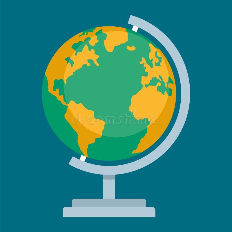 Icona di globus della scuola, stile piano illustrazione di stock
