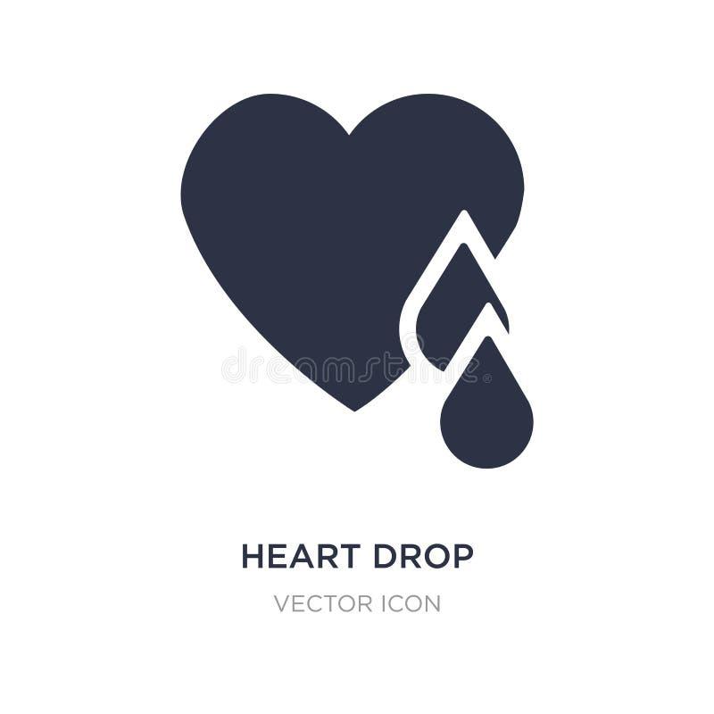 icona di goccia del cuore su fondo bianco Illustrazione semplice dell'elemento dal concetto di carità illustrazione vettoriale