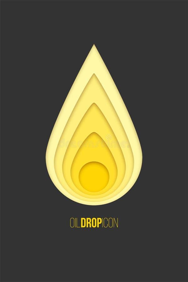 Icona di goccia dell'olio Vector la goccia di carta gialla isolata su fondo grigio scuro illustrazione vettoriale