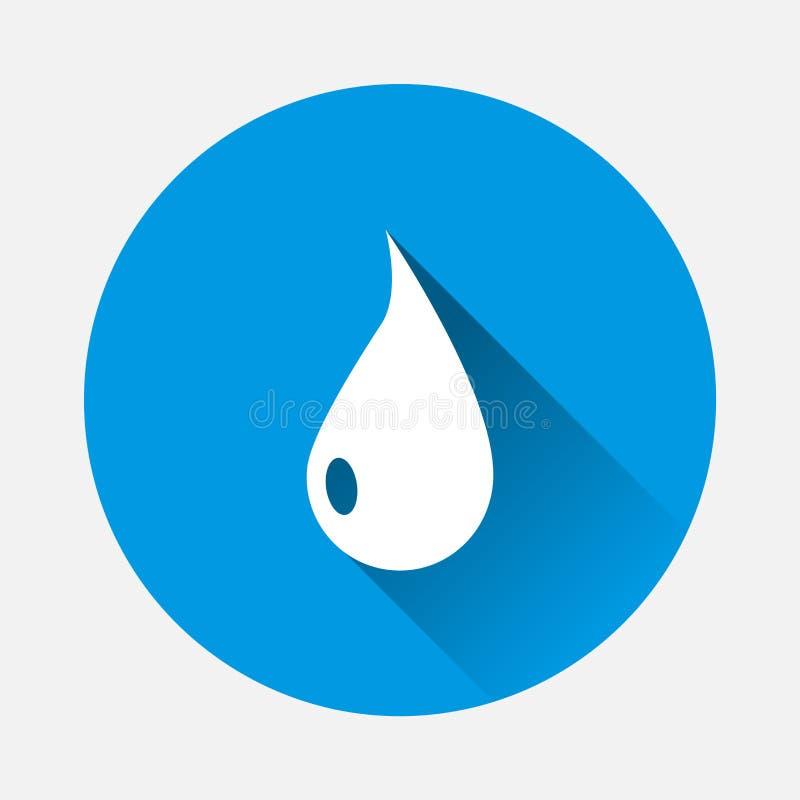 Icona di goccia di vettore su fondo blu Goccia piana di immagine con la s lunga illustrazione di stock