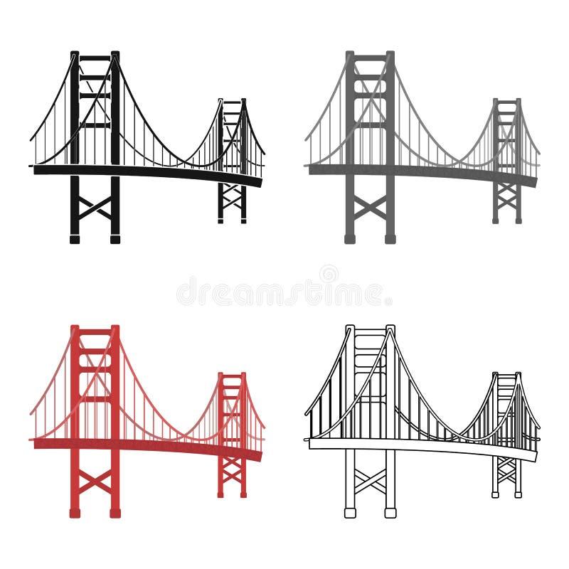 Icona di golden gate bridge nello stile del fumetto su fondo bianco Illustrazione di vettore delle azione di simbolo del paese di illustrazione di stock