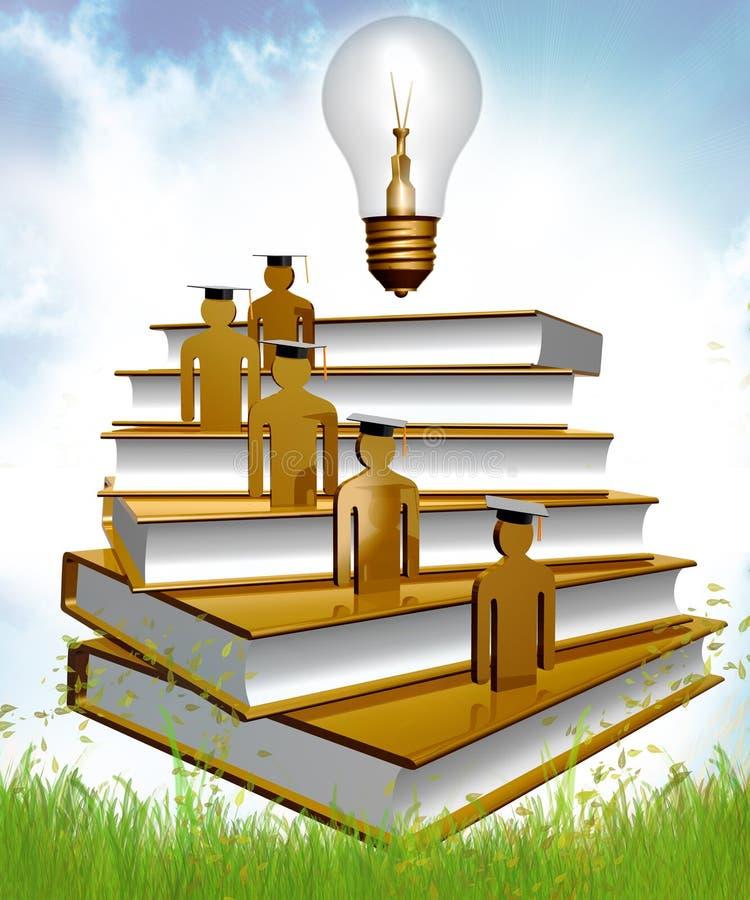Icona di graduazione, di conoscenza e di borsa illustrazione vettoriale