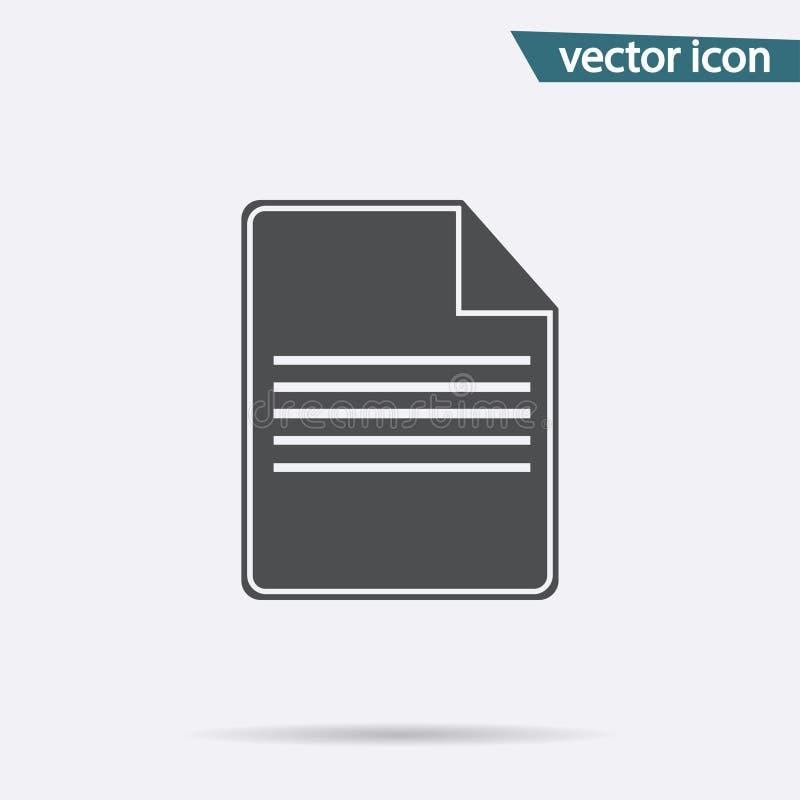 Icona di Gray File isolata su fondo Pittogramma piano moderno, affare, vendita, concetto di Internet illustrazione vettoriale