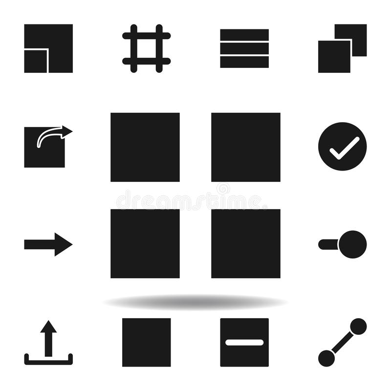 icona di griglia della disposizione dell'utente metta delle icone dell'illustrazione di web i segni, simboli possono essere usati illustrazione di stock
