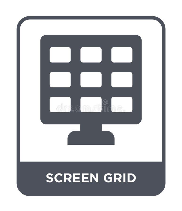 icona di griglia di schermo nello stile d'avanguardia di progettazione icona di griglia di schermo isolata su fondo bianco icona  royalty illustrazione gratis