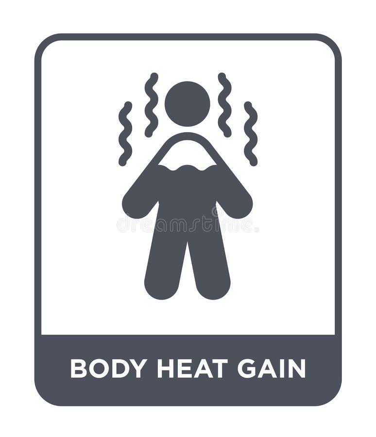 icona di guadagno di calore del corpo nello stile d'avanguardia di progettazione icona di guadagno di calore del corpo isolata su royalty illustrazione gratis