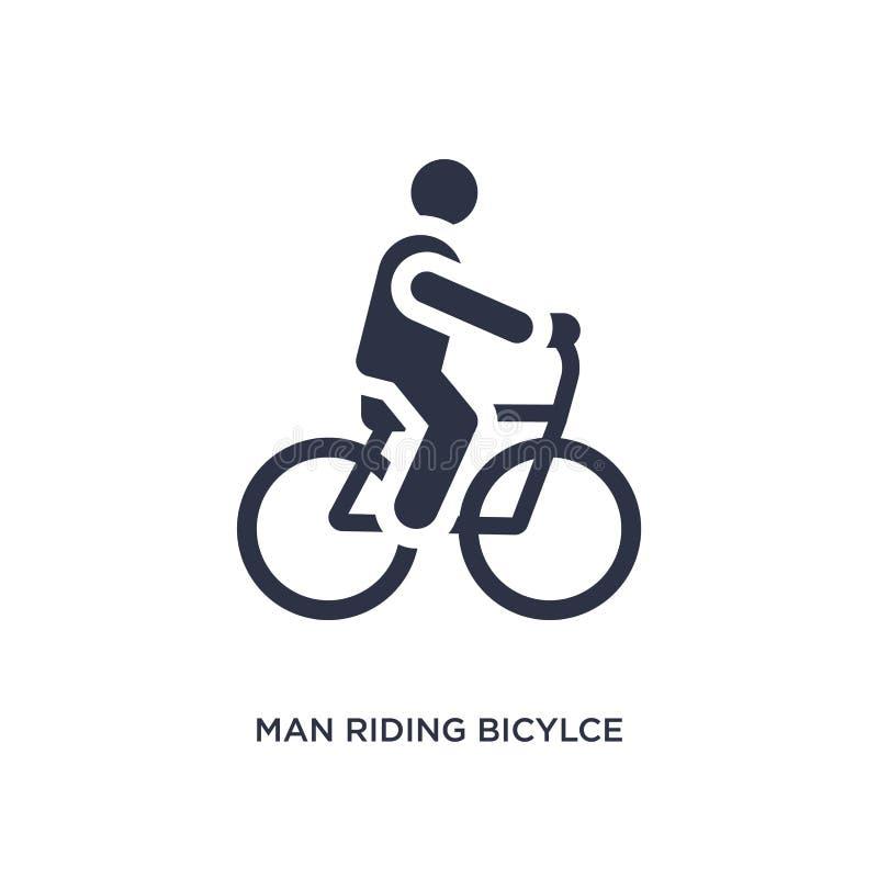 icona di guida del bicylce dell'uomo su fondo bianco Illustrazione semplice dell'elemento dal concetto di comportamento illustrazione di stock