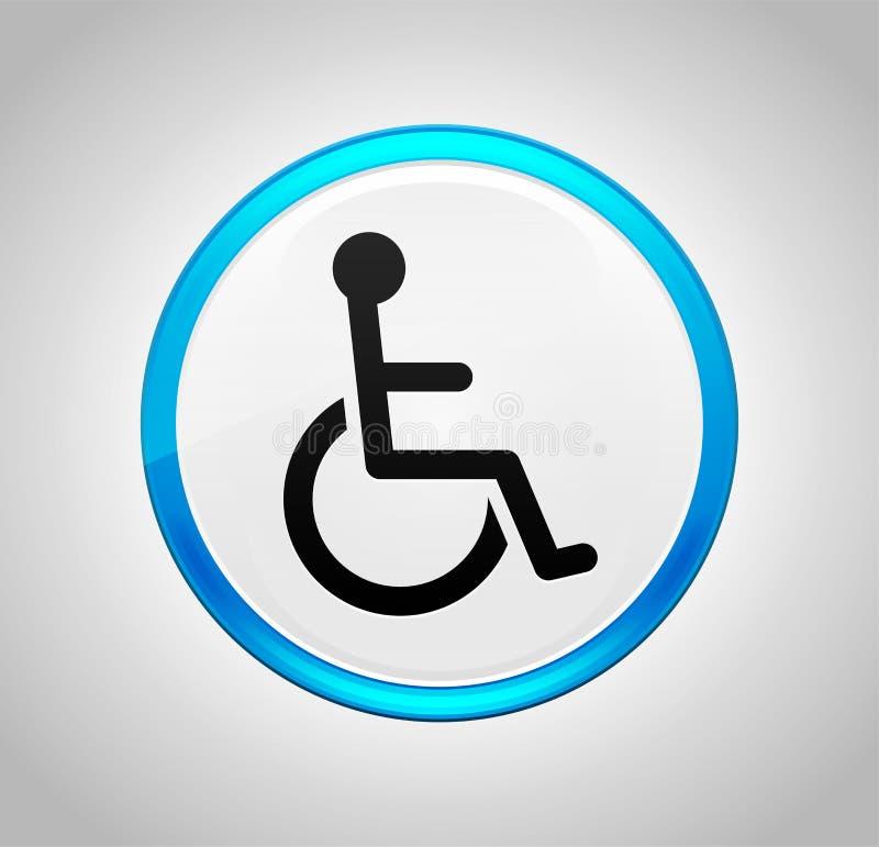 Icona di handicap della sedia a rotelle intorno al pulsante blu royalty illustrazione gratis