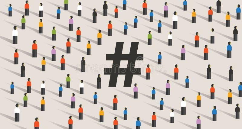 Icona di Hashtag grande gruppo di persone cooperazione Illustrazione piana di vettore di stile isolata su fondo bianco illustrazione vettoriale