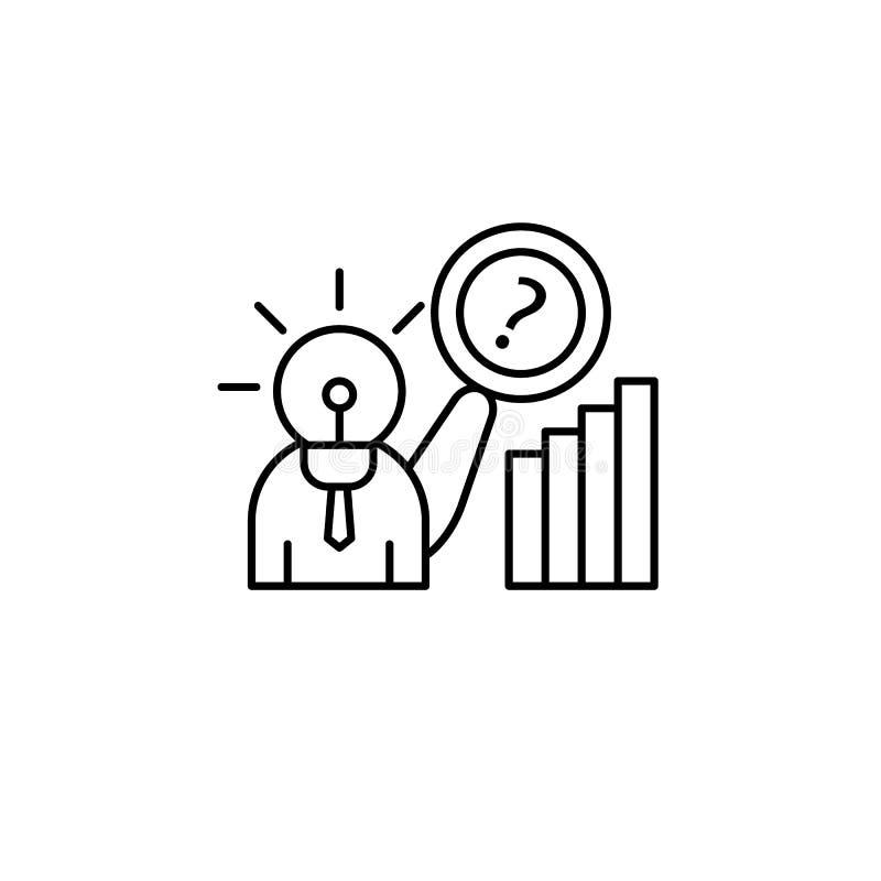 Icona di idea del punto interrogativo di ricerca Elemento della linea icona di comportamento del consumatore illustrazione di stock