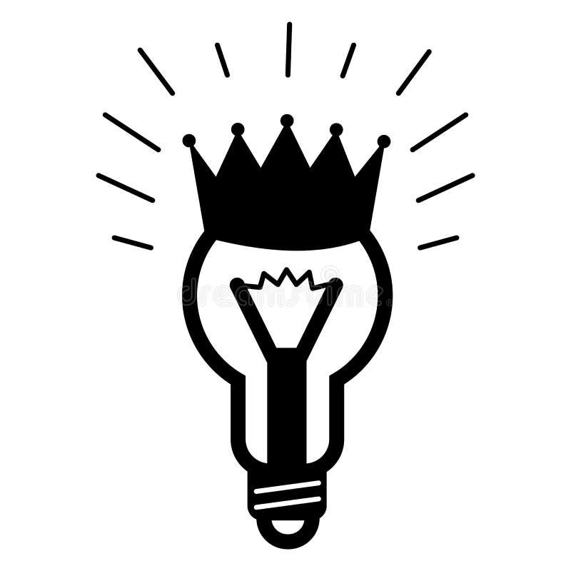 Icona di idea della lampadina di re, stile semplice royalty illustrazione gratis