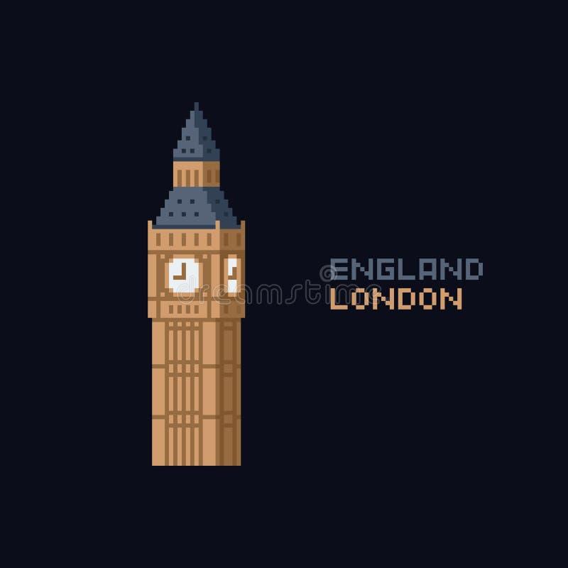 Icona di illustation di vettore di arte del pixel - punto di riferimento di simbolo del Regno Unito Inghilterra Londra, torre di  illustrazione di stock