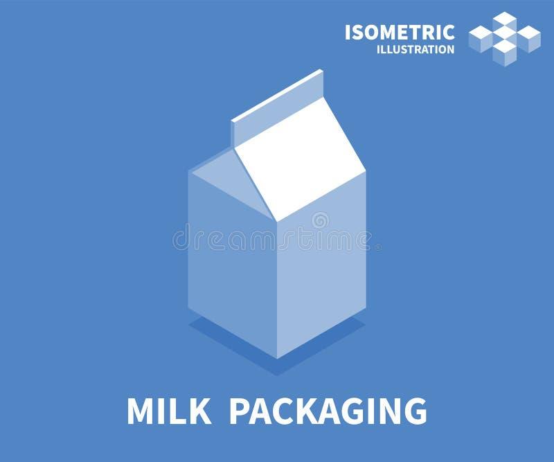 icona di imballaggio di latte Modello isometrico per web design nello stile piano 3D Illustrazione di vettore royalty illustrazione gratis