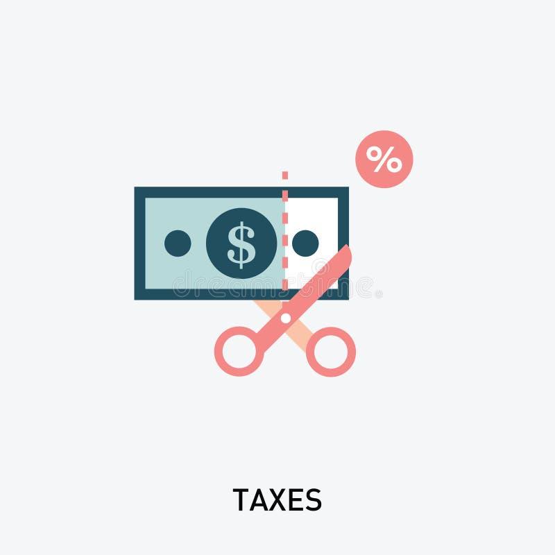 Icona di imposta Forbici che tagliano l'illustrazione delle azione dell'icona dei soldi illustrazione di stock