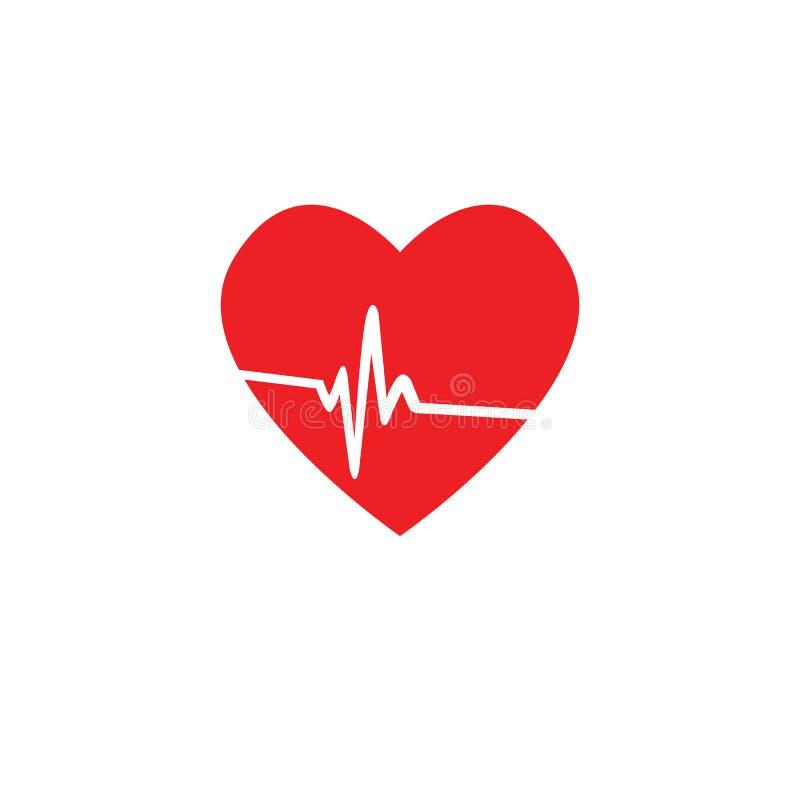 Icona di impulso di frequenza cardiaca, medica, illustrazione di vettore, fondo bianco illustrazione di stock