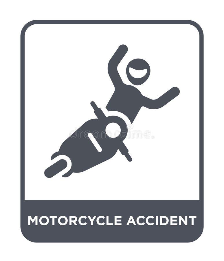 icona di incidente del motociclo nello stile d'avanguardia di progettazione icona di incidente del motociclo isolata su fondo bia royalty illustrazione gratis
