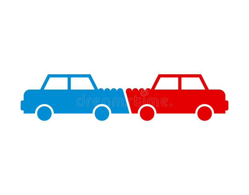 Icona di incidente stradale Automobili di incidente Segno del relitto del trasporto Vettore royalty illustrazione gratis