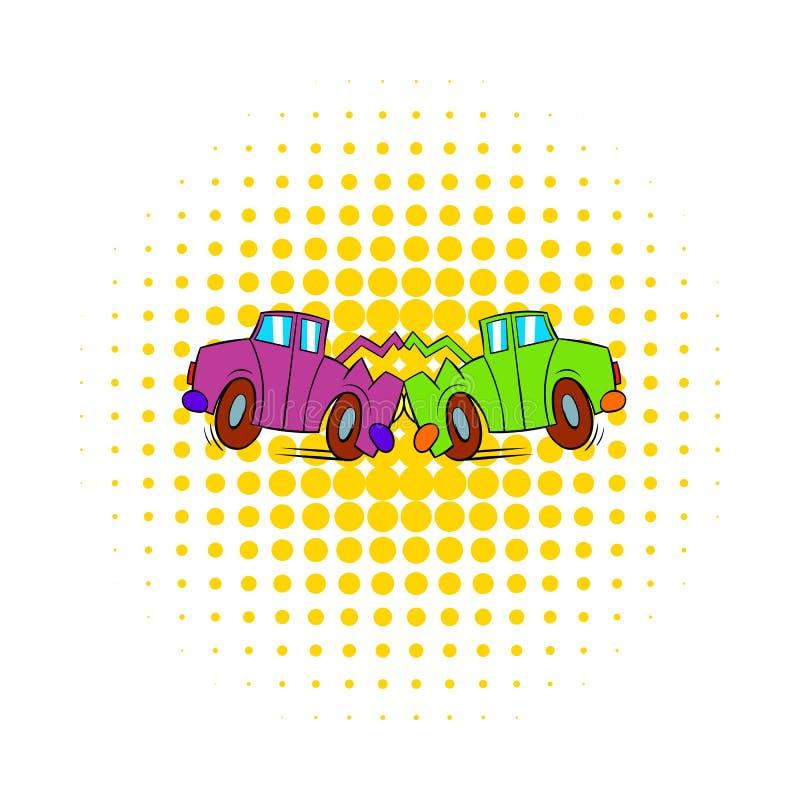 Icona di incidente stradale nello stile dei fumetti illustrazione di stock