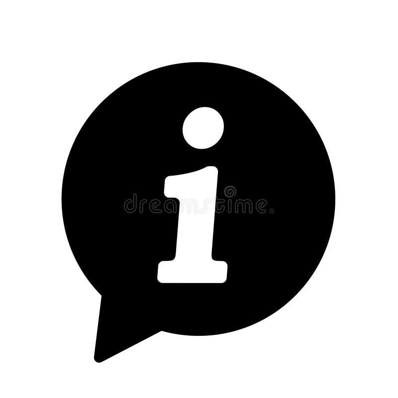 Icona di informazioni, icona del segnale di informazione Simbolo del fumetto di informazioni Segno il vettore con lettere illustrazione vettoriale
