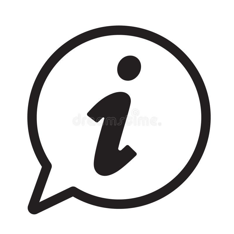 Icona di informazioni, icona del segnale di informazione Simbolo del fumetto di informazioni Segno il vettore con lettere illustrazione di stock