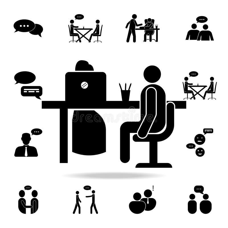 Icona di intervista di lavoro Insieme dettagliato delle icone di conversazione Progettazione grafica premio Una delle icone della illustrazione di stock
